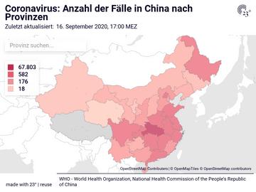 Live Karte Coronavirus: Anzahl der Fälle in China nach Provinzen