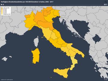 Verfügbare Krankenhausbetten pro 100.000 Einwohner in Italien, 2006 - 2017