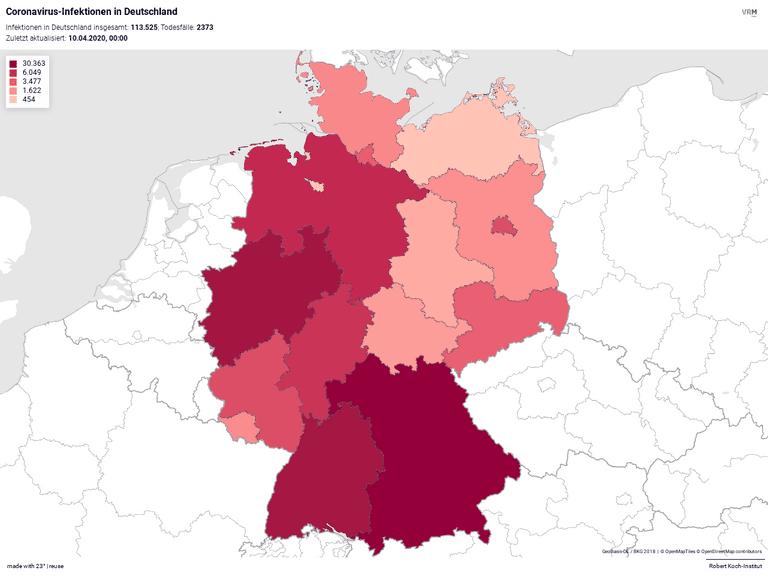 Coronavirus-Infektionen in Deutschland