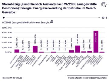 Strombezug (einschließlich Ausland) nach WZ2008 (ausgewählte Positionen): Energie: Energieverwendung der Betriebe im Verarb. Gewerbe