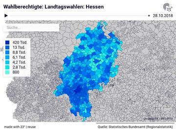 Landtagswahlen: Hessen: Gemeinden, Stichtag, Wahlberechtigte, Wahlbeteiligung, Gültige Stimmen