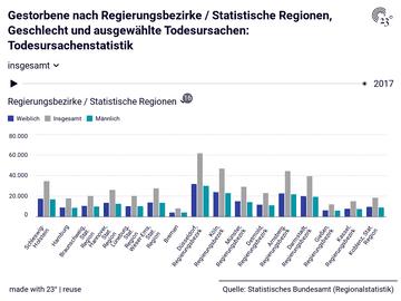 Gestorbene nach Regierungsbezirke / Statistische Regionen, Geschlecht und ausgewählte Todesursachen: Todesursachenstatistik