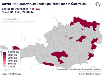 COVID-19 (Coronavirus): Bestätigte Infektionen in Österreich