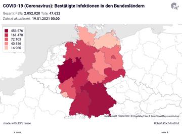COVID-19 (Coronavirus) Deutschland Choro: Bestätigte Infektionen und bestätigte Infektionen pro 100.000 Einwohner
