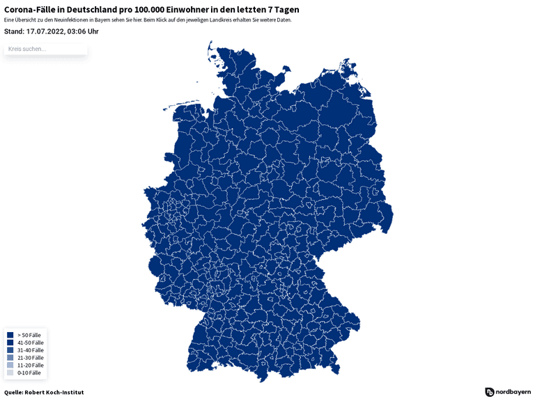 Corona-Fälle in Deutschland pro 100.000 Einwohner in den letzten 7 Tagen