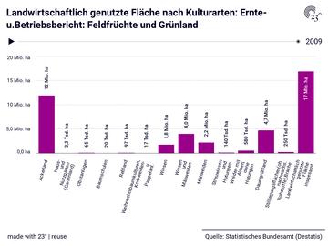 Landwirtschaftlich genutzte Fläche nach Kulturarten: Ernte-u.Betriebsbericht: Feldfrüchte und Grünland