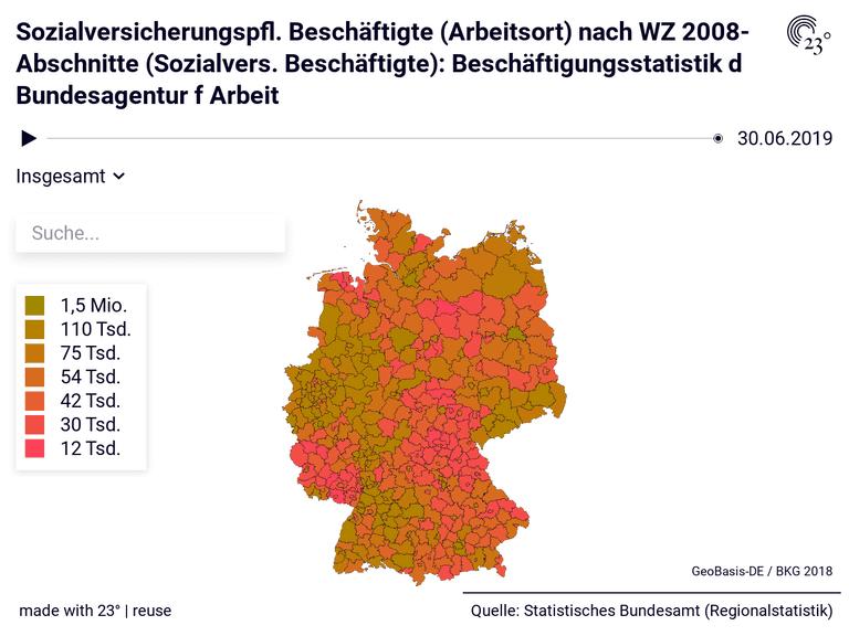 Sozialversicherungspfl. Beschäftigte (Arbeitsort) nach WZ 2008-Abschnitte (Sozialvers. Beschäftigte): Beschäftigungsstatistik d Bundesagentur f Arbeit
