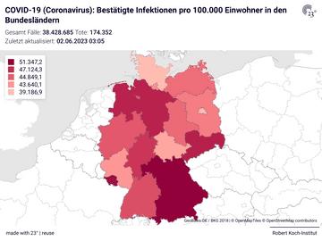 COVID-19 (Coronavirus): Bestätigte Infektionen pro 100.000 Einwohner in den Bundesländern
