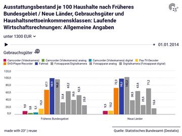 Ausstattungsbestand je 100 Haushalte nach Früheres Bundesgebiet / Neue Länder, Gebrauchsgüter und Haushaltsnettoeinkommensklassen: Laufende Wirtschaftsrechnungen: Allgemeine Angaben