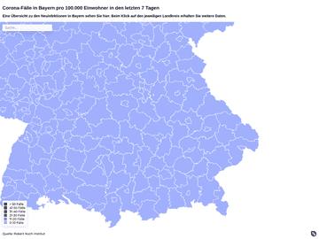 Corona-Fälle in Bayern pro 100.000 Einwohner in den letzten 7 Tagen