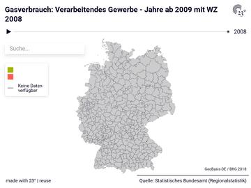 Gasverbrauch: Verarbeitendes Gewerbe - Jahre ab 2009 mit WZ 2008