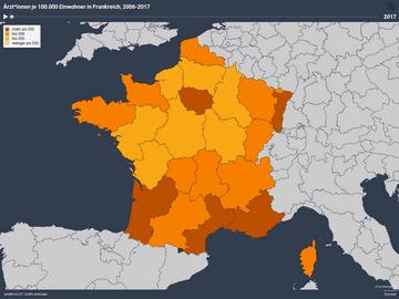 Ärzt*innen je 100.000 Einwohner in Frankreich, 2006-2017