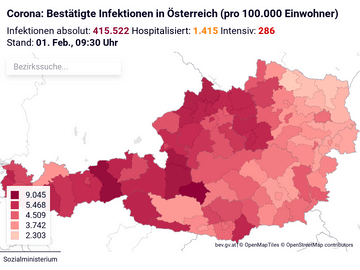 Corona: Bestätigte Infektionen in Österreich (pro 100.000 Einwohner)