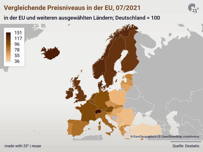 Vergleichende Preisniveaus in der EU, 07/2021