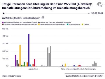 Tätige Personen nach Stellung im Beruf und WZ2003 (4-Steller): Dienstleistungen: Strukturerhebung im Dienstleistungsbereich