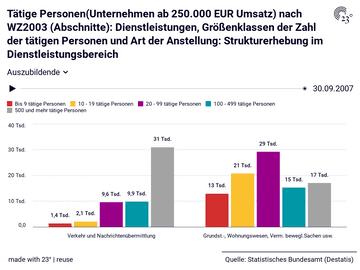 Tätige Personen(Unternehmen ab 250.000 EUR Umsatz) nach WZ2003 (Abschnitte): Dienstleistungen, Größenklassen der Zahl der tätigen Personen und Art der Anstellung: Strukturerhebung im Dienstleistungsbereich