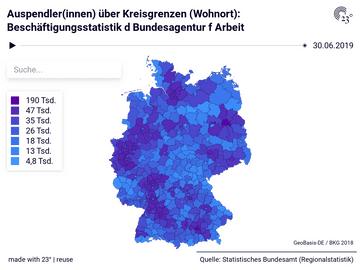 Auspendler(innen) über Kreisgrenzen (Wohnort): Beschäftigungsstatistik d Bundesagentur f Arbeit