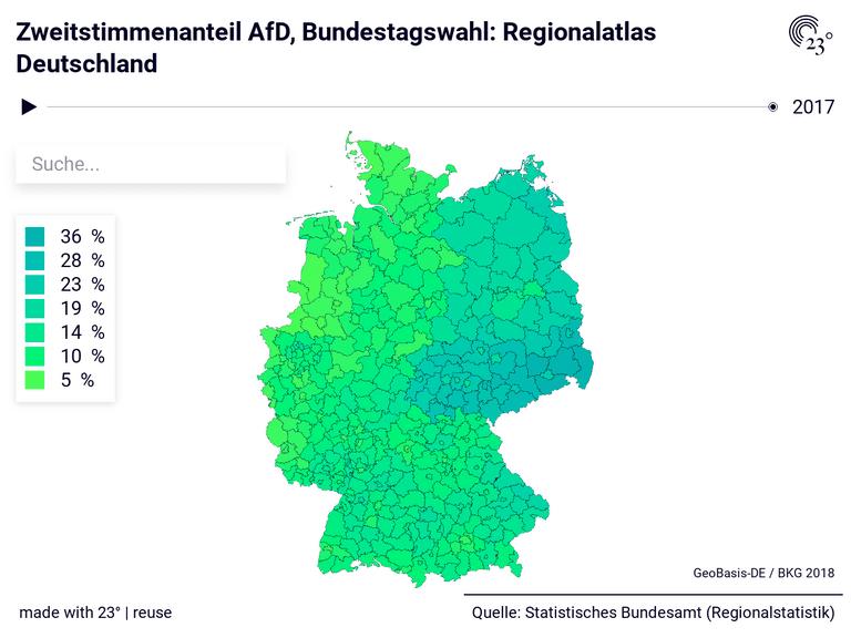 Zweitstimmenanteil AfD, Bundestagswahl: Regionalatlas Deutschland