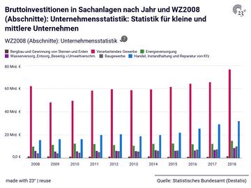 Bruttoinvestitionen in Sachanlagen nach Jahr und WZ2008 (Abschnitte): Unternehmensstatistik: Statistik für kleine und mittlere Unternehmen