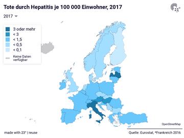 Tote durch Hepatitis je 100 000 Einwohner, 2017