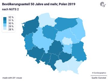 Bevölkerungsanteil 50 Jahre und mehr, Polen 2019