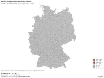 Corona-7-Tage-Inzidenzen in Deutschland