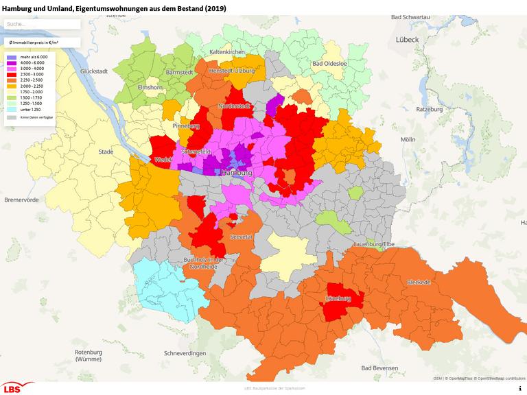 Hamburg und Umland, Eigentumswohnungen aus dem Bestand (2019)