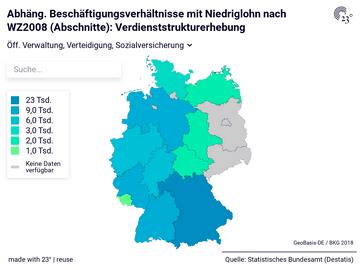 Abhäng. Beschäftigungsverhältnisse mit Niedriglohn nach WZ2008 (Abschnitte): Verdienststrukturerhebung