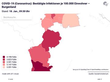 COVID-19 (Coronavirus): Bestätigte Infektionen in den österreichischen Bezirken nach Bundesländern (je 100.000)