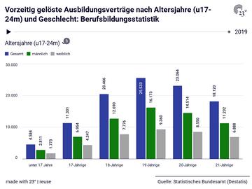 Vorzeitig gelöste Ausbildungsverträge nach Altersjahre (u17-24m) und Geschlecht: Berufsbildungsstatistik