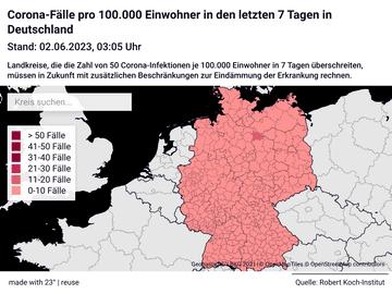 Corona-Fälle pro 100.000 Einwohner in den letzten 7 Tagen in Deutschland
