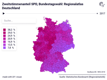 Zweitstimmenanteil SPD, Bundestagswahl: Regionalatlas Deutschland