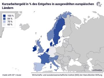 Kurzarbeitergeld in % des Entgeltes in ausgewählten europäischen Ländern