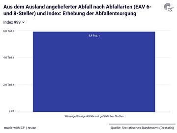 Aus dem Ausland angelieferter Abfall nach Abfallarten (EAV 6- und 8-Steller) und Index: Erhebung der Abfallentsorgung