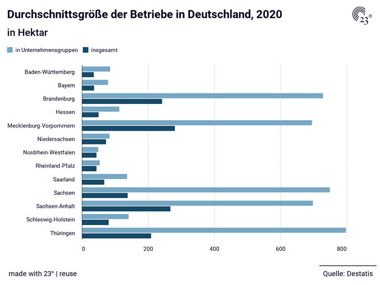 Durchschnittsgröße der Betriebe in Deutschland, 2020