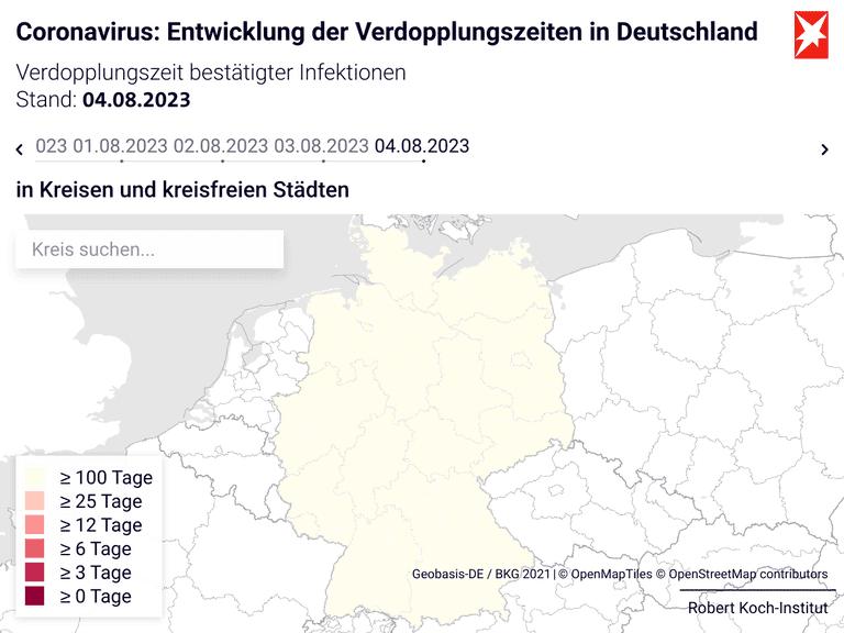 Coronavirus: Entwicklung der Verdopplungszeiten in Deutschland
