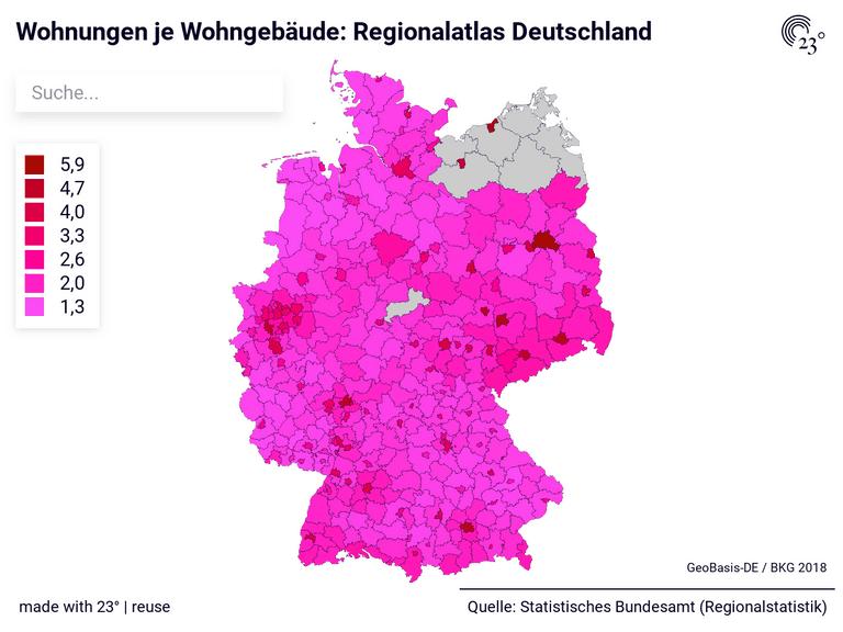 Wohnungen je Wohngebäude: Regionalatlas Deutschland