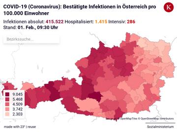 COVID-19 (Coronavirus): Bestätigte Infektionen in Österreich pro 100.000 Einwohner