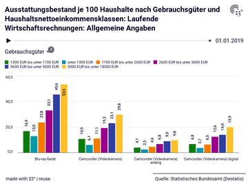 Ausstattungsbestand je 100 Haushalte nach Gebrauchsgüter und Haushaltsnettoeinkommensklassen: Laufende Wirtschaftsrechnungen: Allgemeine Angaben