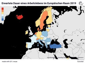 Erwartete Dauer eines Arbeitslebens im Europäischen Raum 2019