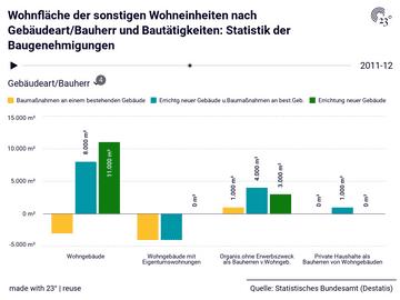 Wohnfläche der sonstigen Wohneinheiten nach Gebäudeart/Bauherr und Bautätigkeiten: Statistik der Baugenehmigungen