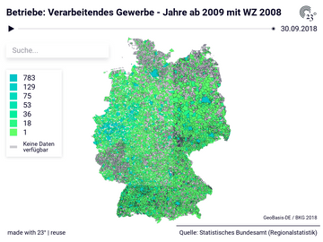 Betriebe: Verarbeitendes Gewerbe - Jahre ab 2009 mit WZ 2008