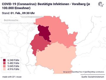 COVID-19 (Coronavirus): Bestätigte Infektionen - Voralberg (je 100.000 Einwohner)