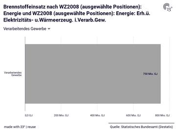 Brennstoffeinsatz nach WZ2008 (ausgewählte Positionen): Energie und WZ2008 (ausgewählte Positionen): Energie: Erh.ü. Elektrizitäts- u.Wärmeerzeug. i.Verarb.Gew.