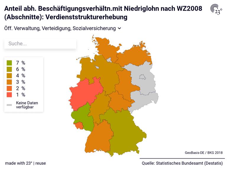Anteil abh. Beschäftigungsverhältn.mit Niedriglohn nach WZ2008 (Abschnitte): Verdienststrukturerhebung