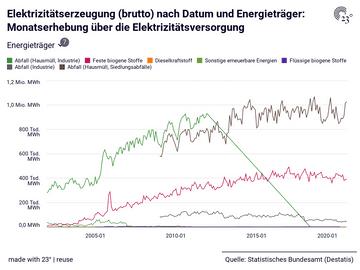 Elektrizitätserzeugung (brutto) nach Datum und Energieträger: Monatserhebung über die Elektrizitätsversorgung