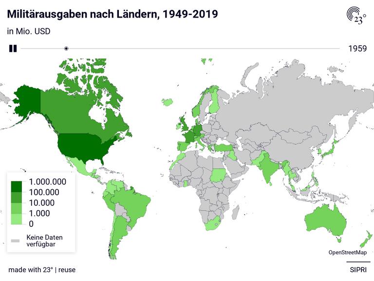 Militärausgaben nach Ländern, 1949-2019