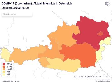 COVID-19 (Coronavirus): Aktuell Erkrankte in Österreich