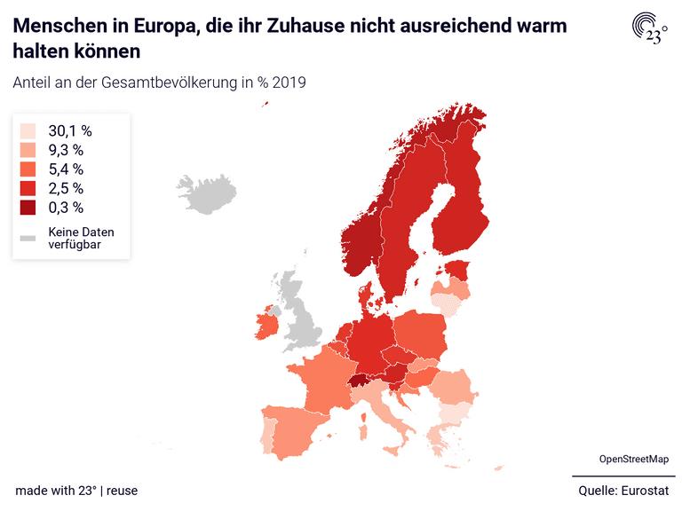 Menschen in Europa, die ihr Zuhause nicht ausreichend warm halten können