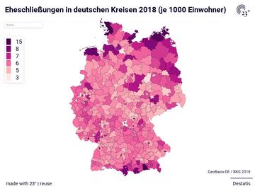 Eheschließungen in deutschen Kreisen 2018 (je 1000 Einwohner)